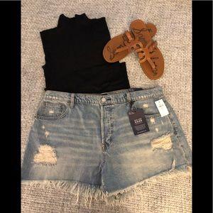 GAP Distressed high waisted denim jean shorts